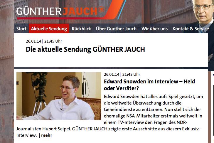 Snowden-Runde bei Jauch (Screenshot): Denglisch-Festival