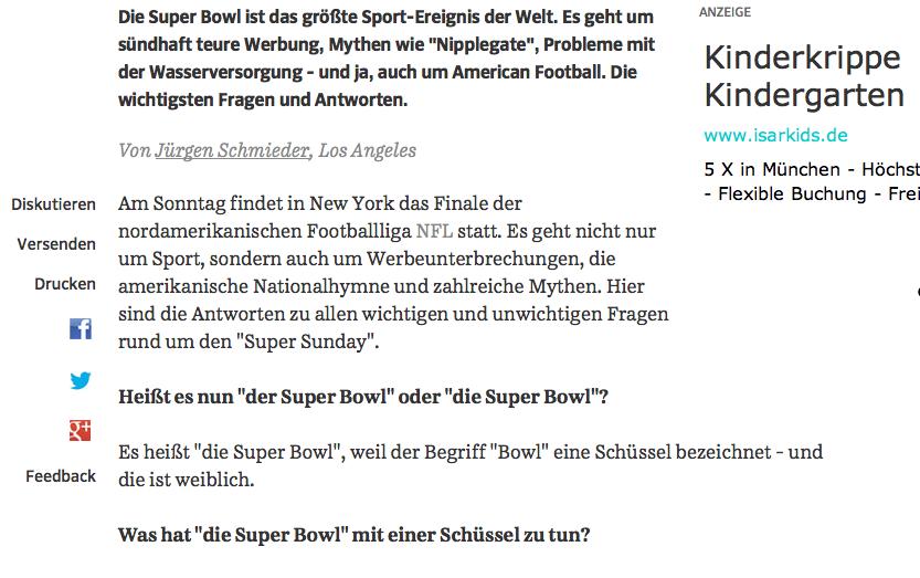 Super Bowl-Vorbericht (Screenshot d. SZ): Widerspruch zum Duden
