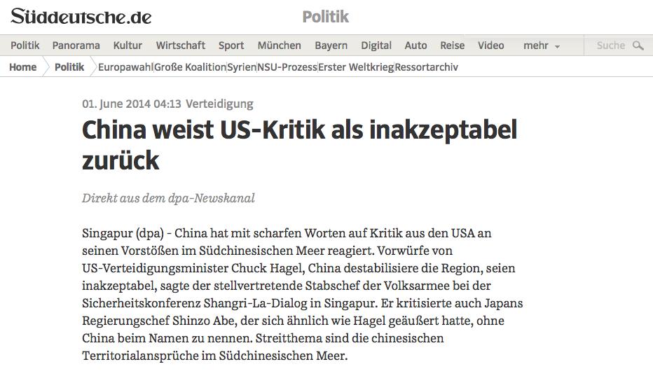 """Schlagzeile """"Inakzeptable Kritik"""" (Screenshot): Unannehmbarer Sprachgebrauch?"""
