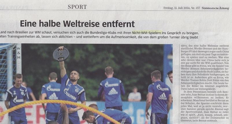 Sportbericht der Süddeutschen Zeitung (Ausschnitt): Nicht-WM-Spieler