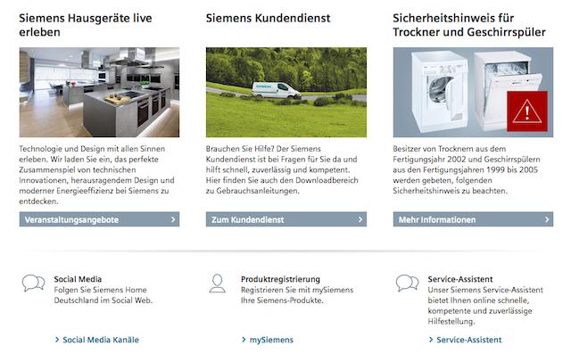 Siemens Hausgeräte: Unverbundene Reihung bei Markennamen