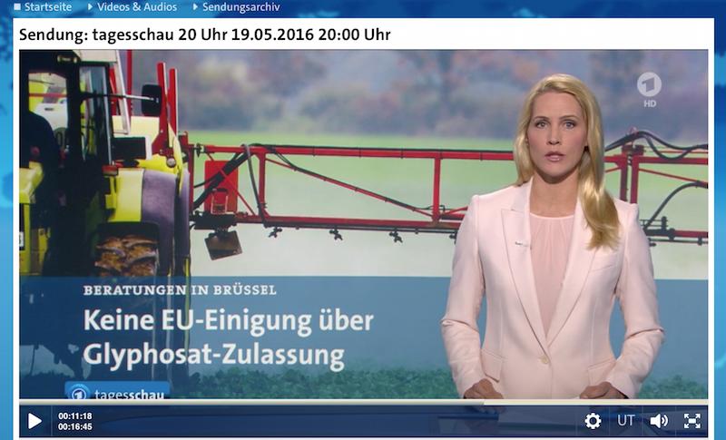 "Tagesschau-Sprecherin Rakers: "". . .steht im Verdacht, Krebs zu erregen."" (Screenshot)"