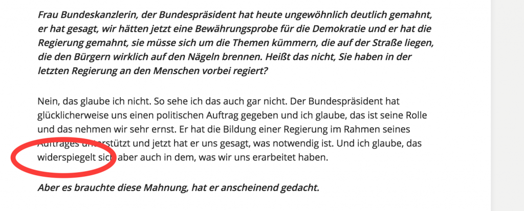 Widerspiegelt im ARD-Interview