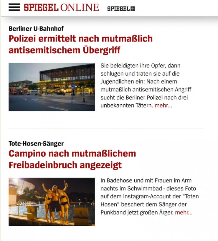 mutmaßlich zweimal auf Spiegel Online