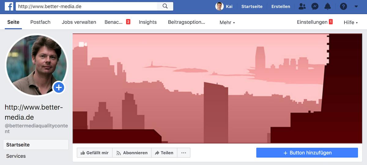Teaser-Speicher auf Facebook