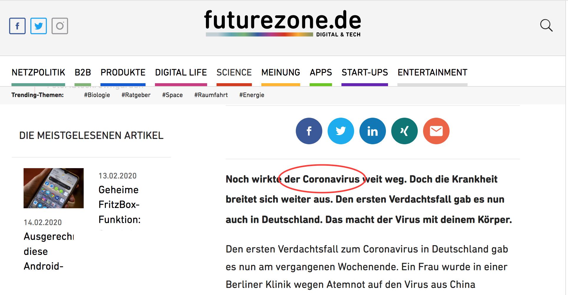Der Virus auf Futurezone