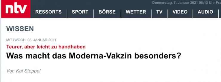 Bildschirmfoto der Ntv-Meldung mit Vakzin in der Schlagzeile