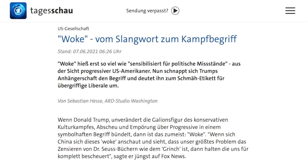 Bildschirmfoto eines Tagesschau-Artikels mit woke in der überschrift